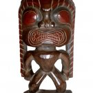 "Hawaiian God Ku Hand Carved Tiki Wood Statue/Figurine 13-14"" - Red/Brown"