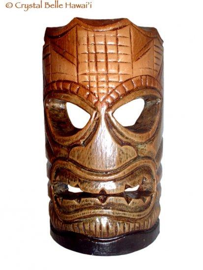 "Hawaiian God Ku Hand Carved and Painted Tiki Wood Statue/Mask 8"" - Brown/Green"