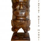 Hawaiian God Ku Hand Carved Tiki, Natural Monkey Pod Wood Statue 10""