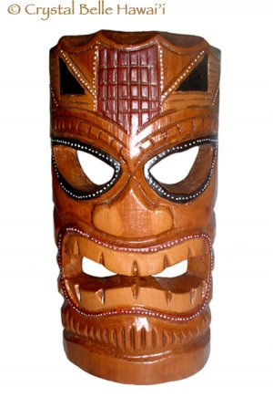 "Hawaiian God Ku Hand Carved and Painted Tiki Wood Mask/Wall Hanging - Statue 12"" - Brown/Red"