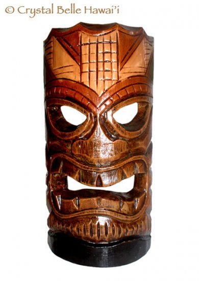 "Hawaiian God Ku Hand Carved/Painted Tiki Wood Mask/Wall Hanging 12"" - Brown/Green"