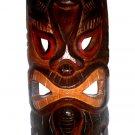 "Hawaiian God Ku of War Hand Carved/Painted Wood Tiki Mask 12"""