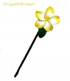 Hawaiian Plumeria/Frangipani Hair/Hat Pin, Yellow/White - with Leaf, Small