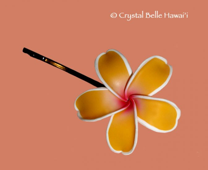 Hawaiian Plumeria/Frangipani Flower Hair Pin, Yellow/White/Fuschia