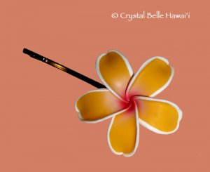 Hawaiian Plumeria/Frangipani Flower Hair Pin, Yellow/White/Fuschia