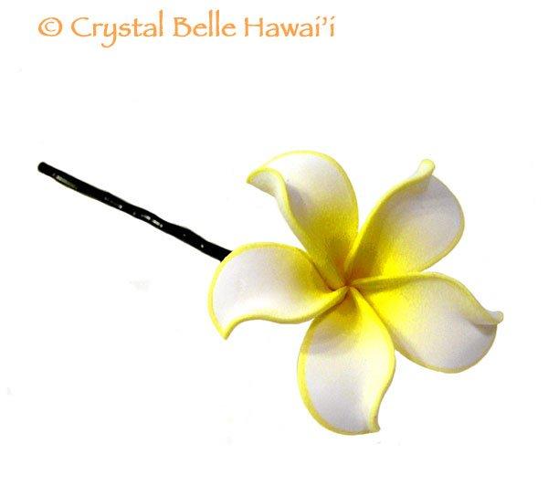 Hawaiian Plumeria Lei Flower Hair Pin, White/Yellow