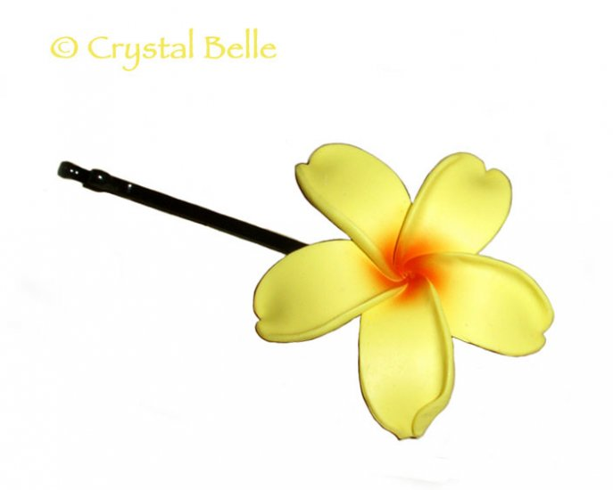 Hawaiian Frangipani/Plumeria Flower Hair/Hat Pin, Sunny Yellow