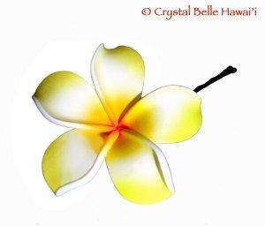 Hawaiian Plumeria/Frangipani Lei Flower Hair Pin, Yellow/White