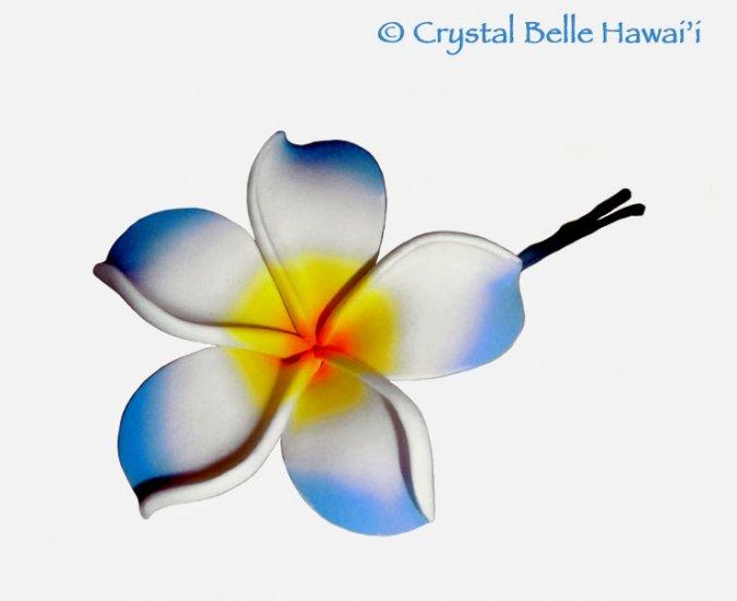Hawaiian Plumeria/Frangipani Lei Flower Hair Pin, Aquamarine Blue, White Yellow