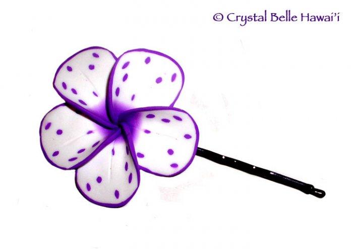 Hawaiian Plumeria/Frangipani Hair/Hat Pin, Purple/White