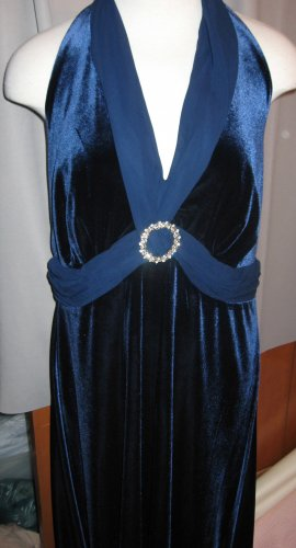 Navy Blue Velour Halter Cocktail Dress Size 20W NWT