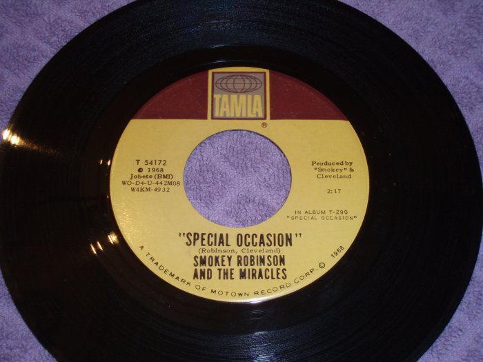 Smokey Robinson & The Miralces Special Occasion b/w Give Her Up 45 Northern Soul