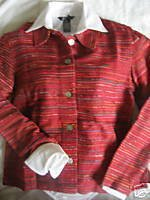 NEW COLDWATER CREEK RED TEXTURE STRIPE JACKET PETITE PS
