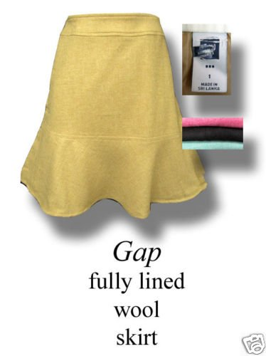 NEW GAP LINED  WOOL TULIP FLARE CAREER SKIRT 14 CAMEL