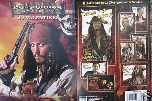 NEW NIB PIRATES OF THE CARIBBEAN VALENTINE'S DAY CARDS