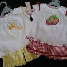 NWT CUTE GINGHAM SHORT SHIRT SET LOT 12MO GIRL TWIN