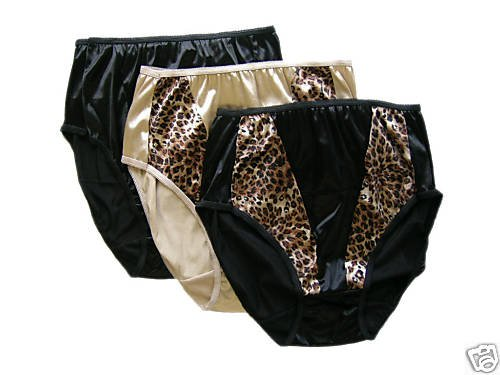 NWT SEXY SATIN PANTY HI CUT BRIEF NUDE  LEOPARD 7 L