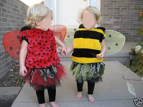 TWIN HALLOWEEN COSTUMES LADYBUG BUMBLE BEE TUTU 18MO 2T