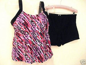 NWT CONTRAST DOTS TANKINI SHORTINI SHORTS SWIMSUIT 24W