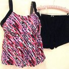NWT CONTRAST DOTS TANKINI SHORTINI SHORTS SWIMSUIT 16W