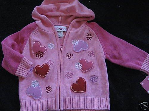 NWT PINK LOVE SWEATER ZIP UP HOODIE CUTE BABY 6MO