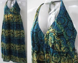 NWT OLD NAVY BATIK HALTER GODDESS  MAXI DRESS LINEN M