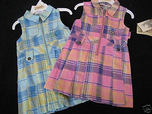 NWT CARTERS TWIN GIRLS PINK AQUA PLEATED DRESS LOT 18MO