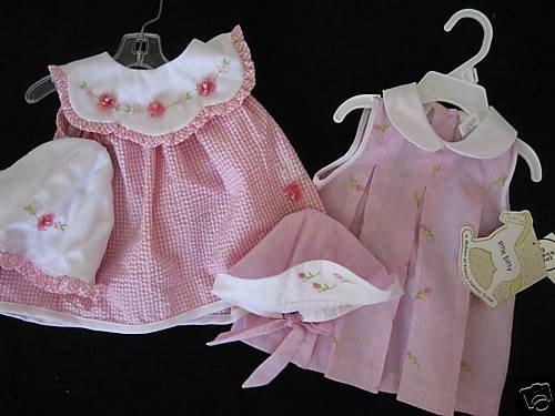 NWT LOT TWIN GIRLS PINK DRESS HAT  LOT ROSES 6 9 MO
