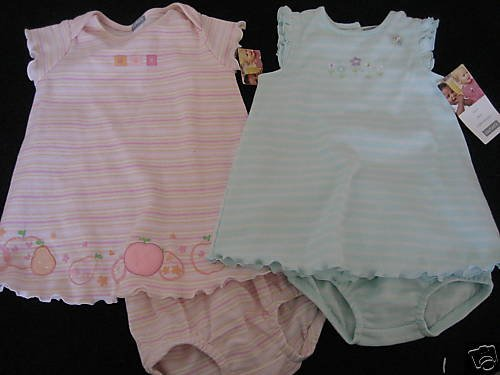 NWT TWIN GIRLS CARTERS A-LINE DRESS BLOOMERS 6MO  LOT