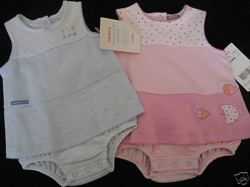 NWT TWIN GIRLS CARTERS KEEP COOL SUNSUITS DRESS 6MO