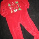 CUTE BOY GIRL FIRST CHRISTMAS RED OUTFIT SLEEPER 3-6MO