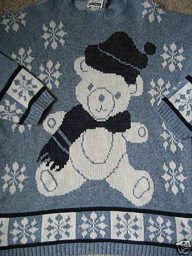 UGLY CHRISTMAS SWEATER TACKY BEAR BLUE SNOWFLAKES L XL