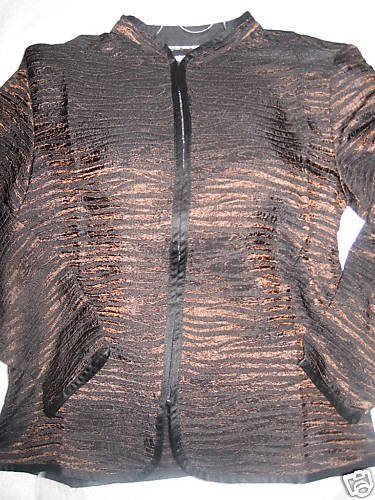 NEW COLDWATER CREEK CRINKLE METALLIC STRIPE JACKET PXL