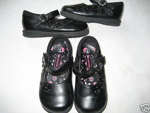 TODDLER GIRLS KIDS TWINS BLACK VELCRO MARY JANES LOT 6