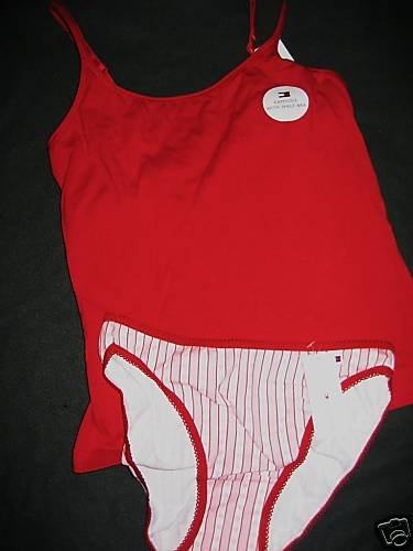 NWT TOMMY HILFIGER CAMI PANTY SET LOT RED HEART PJ S M