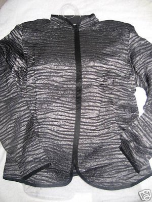 NEW COLDWATER CREEK CRINKLE METALLIC STRIPE JACKET PM