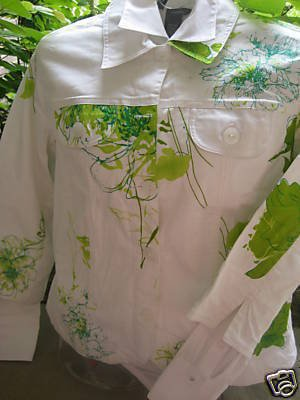 COLDWATER CREEK WHITE JACKET ASIAN FLORAL PETITE PS NEW