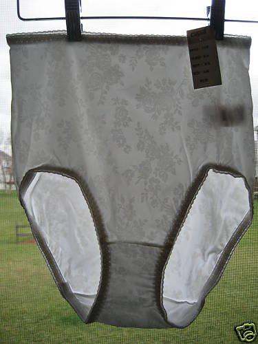 NEW SATIN-Y FLORAL  HI CUT PANTY FULL BRIEF M L XL