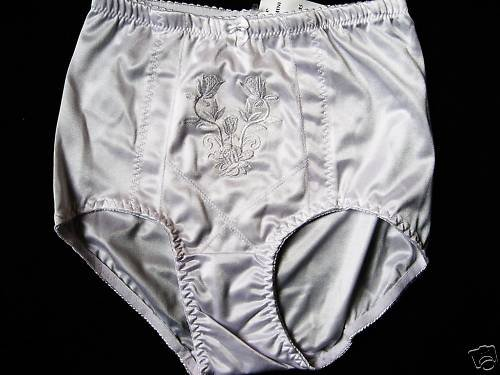 NEW SATIN-Y EMBROIDERED PANTY GIRDLE TUMMY CONTROL M