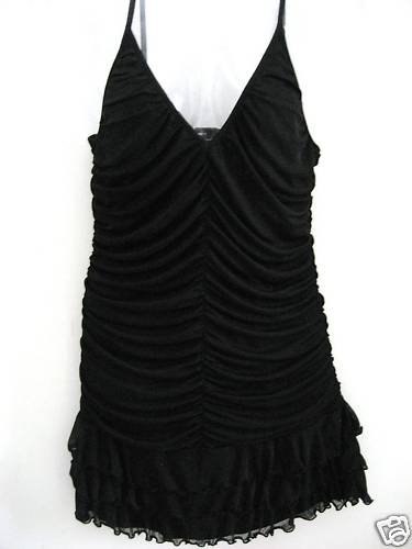 NEW VICTORIA SECRET FLIRTY  RUCHED RUFFLE DRESS BLACK L
