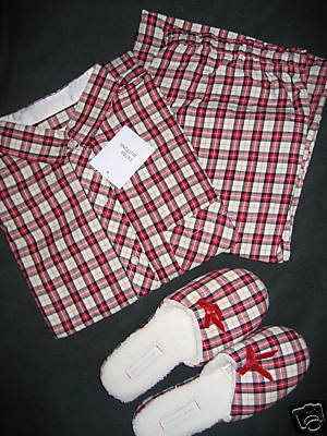 VICTORIA SECRET PLAID FLANNEL PAJAMA&SLIPPER LOT SILK-M