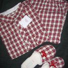 VICTORIA SECRET PLAID FLANNEL PAJAMA&SLIPPER LOT SILK S