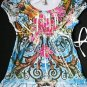 LIMITED TOO JUSTICE BABYDOLL TATTOO  TOP XL 16 BLING!