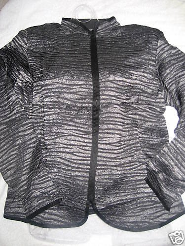 NEW COLDWATER CREEK ANIMAL METALLIC STRIPE JACKET XS