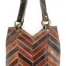 LUCKY BRAND BROWN HERRINGBONE PATCHWORK LEATHER PURSE