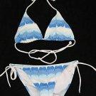 NEW VICTORIA SECRET BLUE WAVES WHITE STRING BIKINI S