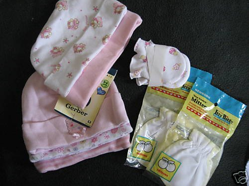 NWT LOT GERBER LAYETTE PINK HAT MITTENS NO SCRATCH