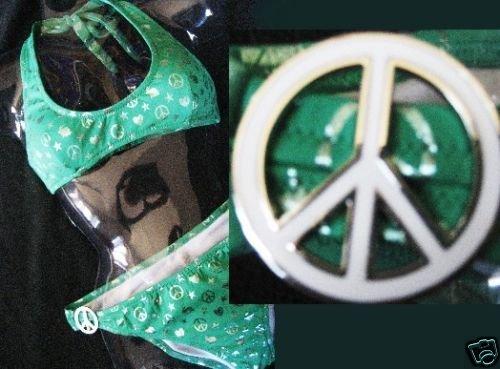 NEW VICTORIA SECRET PEACE CHARM PADDED FOIL BIKINI L M