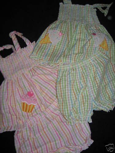 NEW TWINS LOT SUNDRESES ICE CREAM CUPCAKES GIRLS  24mo