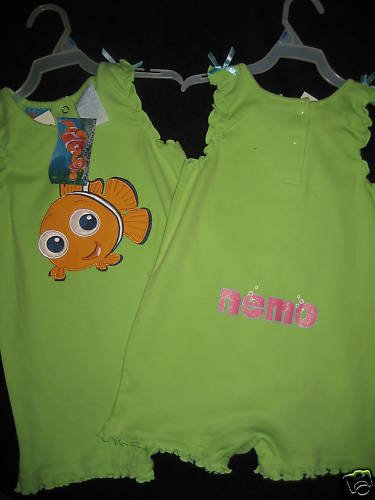 NWT LOT TWINS NEMO GREEN SUNSUITS ROMPERS  SET GIRL 24